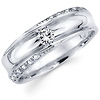 Designer 14K White Gold Round Diamond Wedding Band