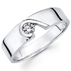 Modern Designer Solitaire 14K White Gold Diamond Wedding Band