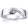 14K White Gold Modern Designer Diamond Solitaire Wedding Ring