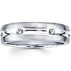 14K White Gold Round Diamond Textured Wedding Ring