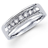 14K White Gold Milgrain Edge Round Channel Set Diamond Wedding Band