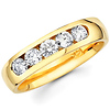 Diamond 5 Stone Channel Set 14K Yellow Gold Wedding Band