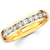 14K Yellow Gold Nine Diamond Channel Set Wedding Band