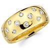 Round Diamond 14K Yellow Gold Bezel Set Ring