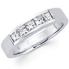 Princess Diamond Five Stone Channel Set Wedding Band