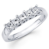 5 Princess Diamond 14K White Gold Wedding Ring (0.90Ct)