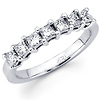14K White Gold Princess Cut Diamond 7 Stones Band (0.72Ct)
