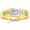 Two Tone 14K Gold Round Diamond Men's Wedding Band