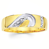 Curve Design 14K Two Tone Men's Wedding Band