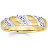14K Two Tone Striped Men's Diamond Wedding Band