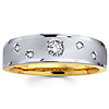 14K Two Tone Textured Diamond Wedding Band