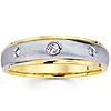Bezel Set Round Diamond 14K Two Tone Gold Wedding Band
