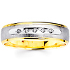 Textured Two Tone Round Diamond 14K Wedding Band