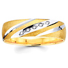 Striped & Textured 14K Two Tone Gold Diamond Wedding Band