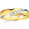 Striped & Textured 14K Two Tone Gold Diamond Wedding Band
