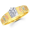 14K Tri Color Round Diamond Engagement Ring