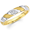 14K Two Tone Striped Ladies Diamond Wedding Band