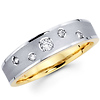 14K Two Tone Textured Diamond Women's Wedding Ring