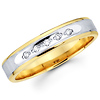 Two Tone Round Diamond 14K Ladies Wedding Band