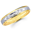 Textured 14K Two Tone Round Diamond Ladies Wedding Band