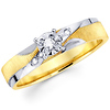 14K White & Yellow Gold Round Diamond Engagement Ring