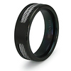7mm Men's Double Cable Inlay Black Titanium Ring