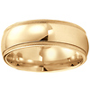 8mm Domed Milgrain Comfort Fit 14K Yellow Gold Benchmark Wedding Band
