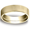 6mm Flat Brushed Comfort Fit 14K Yellow Gold Benchmark Wedding Band