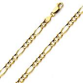 14K-18K Yellow Gold Figaro Chain 4mm
