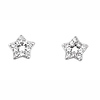 Silver CZ Star Stud Earrings