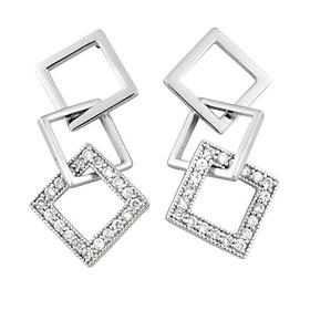 3-square silver dangling cz earrings