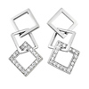 Square Sterling Silver CZ Drop Earrings