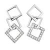 Square Sterling Silver CZ Drop Earrings