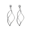 14k White Gold Flame Swirl Contemporary Earrings