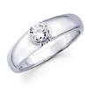 14K White Gold Round Diamond Solitaire Ring
