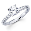 Classic 14K White Gold Round Diamond Engagement Ring