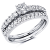 14K White Gold Round Diamond Engagement Ring Set (1.11 ctw)