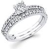 14K White Gold Diamond Bridal Ring Set 0.69 ctw