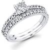 Matching 14K White Gold Diamond  Engagement Ring Set 0.84 ctw