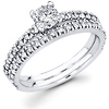 14K Round Diamond Matching Engagement Ring Set (0.84 ctw)