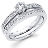 14K White Gold Milgrain Diamond Bridal Ring Set 0.53 ctw