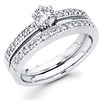 Round Diamond 14K Matching Milgrain Engagement Ring Set (0.68 ctw)
