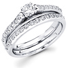 Round Diamond 14K Matching Wedding Ring Set (0.77 ctw)