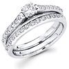 14K White Gold Matching Diamond Wedding Ring Set 0.77 ctw
