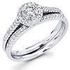 14K Diamond Halo Engagement Ring Set (0.46 ctw)
