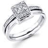14K White Gold Princess Halo Engagement Wedding Ring Set (0.32 ctw)