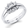 Three Stone Diamond Engagement Ring Set in 14K White Gold (0.54 ctw)