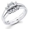 Sleek 14K White Gold Three Stone Diamond Engagement Ring Set 0.54 ctw