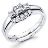 14K Gold Three Stone Diamond Bridal Ring Set (0.45 ctw)