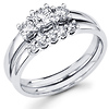 14K Round Diamond Three Stone Bridal Engagement Ring Set (0.70 ctw)
